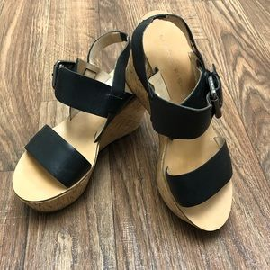 Marc Fisher sandals, 7 1/2, black w cork.